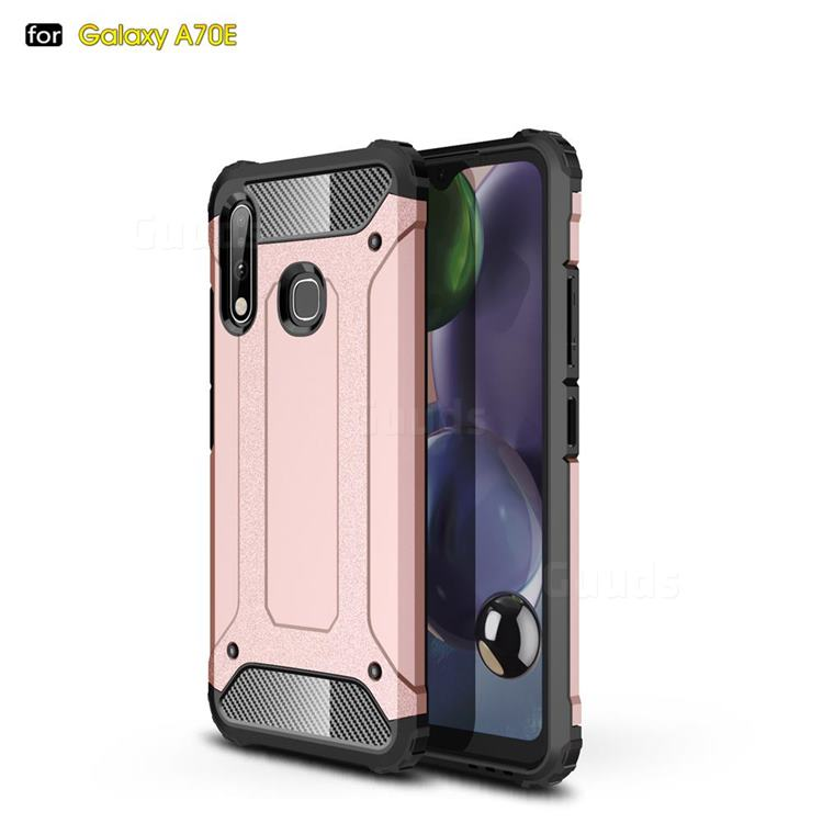 King Kong Armor Premium Shockproof Dual Layer Rugged Hard Cover for Samsung Galaxy A70e - Rose Gold