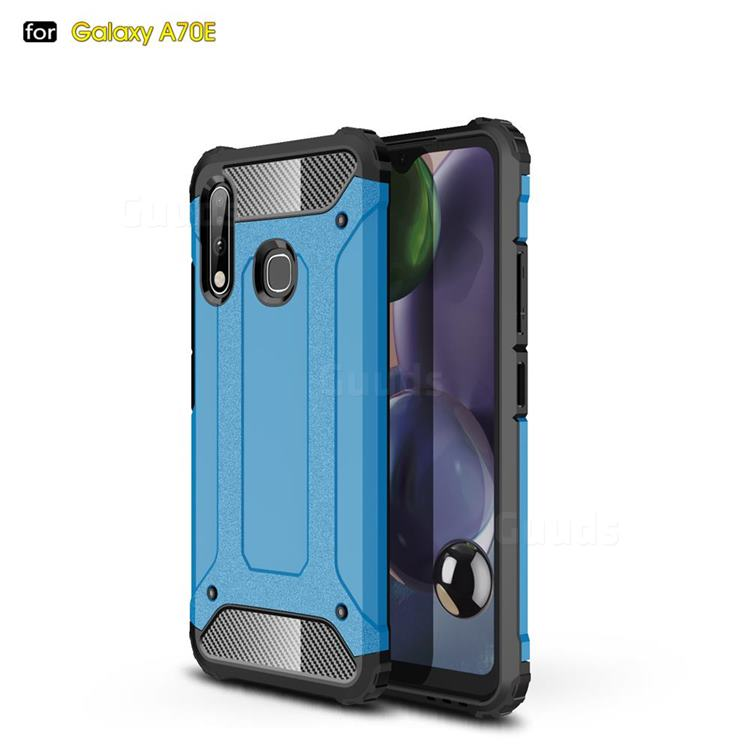 King Kong Armor Premium Shockproof Dual Layer Rugged Hard Cover for Samsung Galaxy A70e - Sky Blue