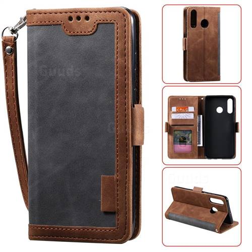 Luxury Retro Stitching Leather Wallet Phone Case for Samsung Galaxy A70e - Gray