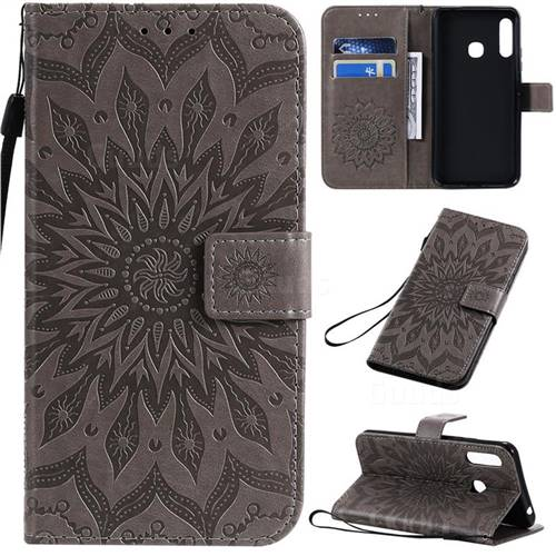 Embossing Sunflower Leather Wallet Case for Samsung Galaxy A70e - Gray