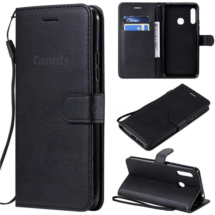Retro Greek Classic Smooth PU Leather Wallet Phone Case for Samsung Galaxy A70e - Black