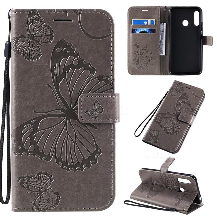 Embossing 3D Butterfly Leather Wallet Case for Samsung Galaxy A70e - Gray