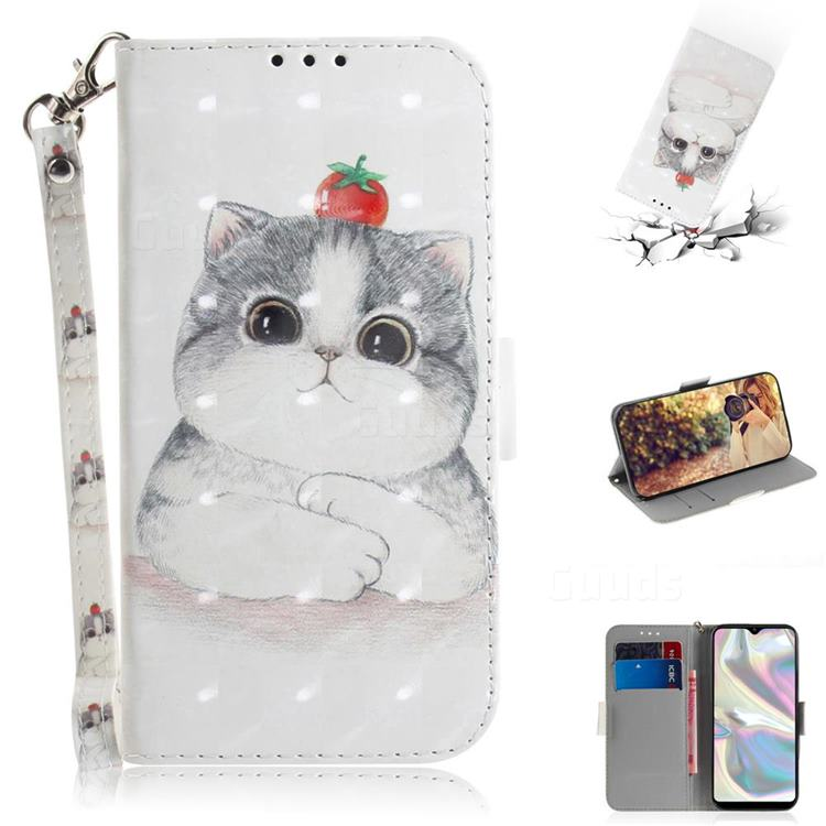 Cute Tomato Cat 3D Painted Leather Wallet Phone Case for Samsung Galaxy A70e