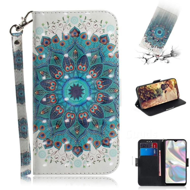 Peacock Mandala 3D Painted Leather Wallet Phone Case for Samsung Galaxy A70e