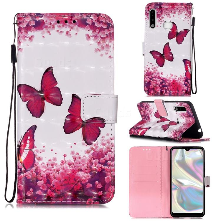 Rose Butterfly 3D Painted Leather Wallet Case for Samsung Galaxy A70e
