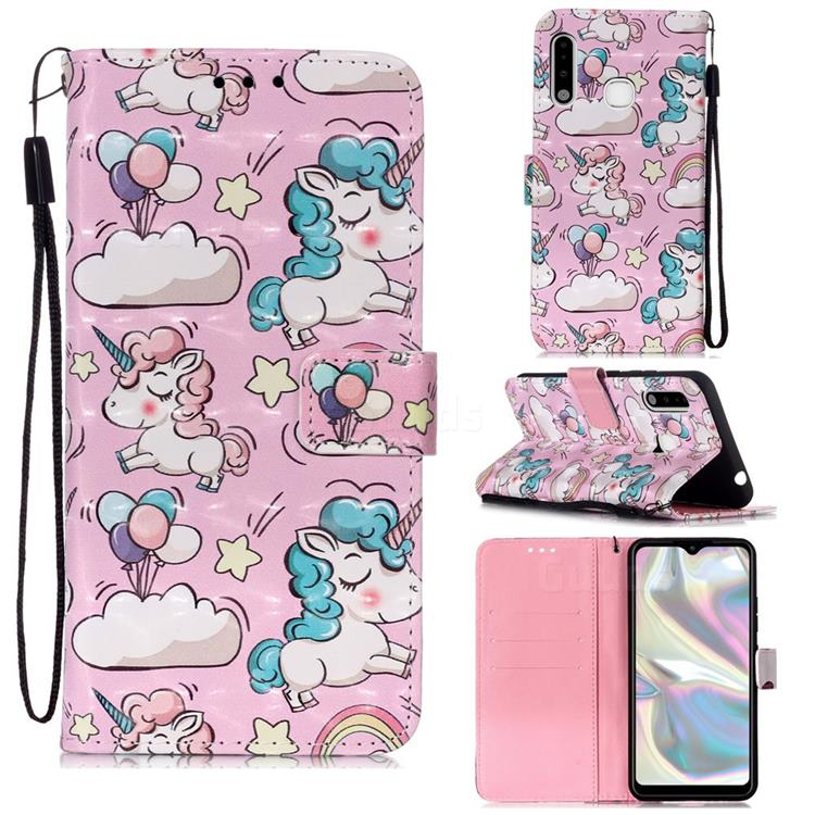 Angel Pony 3D Painted Leather Wallet Case for Samsung Galaxy A70e