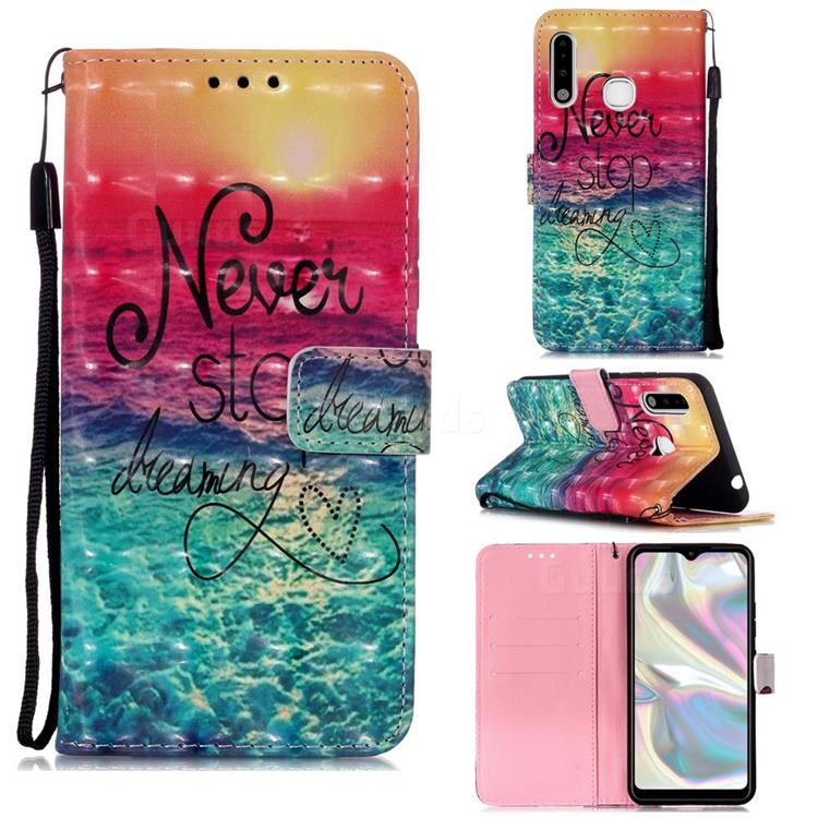 Colorful Dream Catcher 3D Painted Leather Wallet Case for Samsung Galaxy A70e