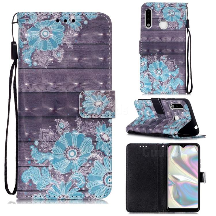 Blue Flower 3D Painted Leather Wallet Case for Samsung Galaxy A70e