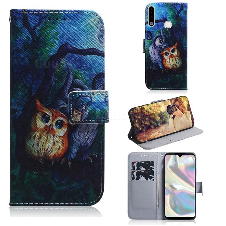 Oil Painting Owl PU Leather Wallet Case for Samsung Galaxy A70e