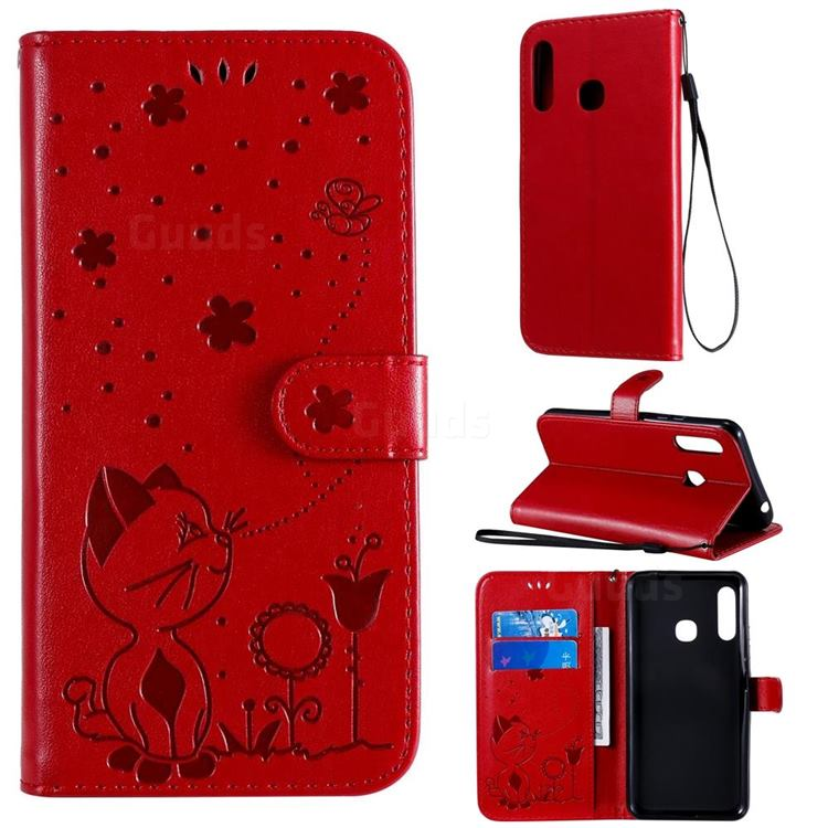 Embossing Bee and Cat Leather Wallet Case for Samsung Galaxy A70e - Red