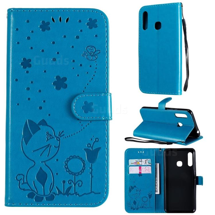 Embossing Bee and Cat Leather Wallet Case for Samsung Galaxy A70e - Blue