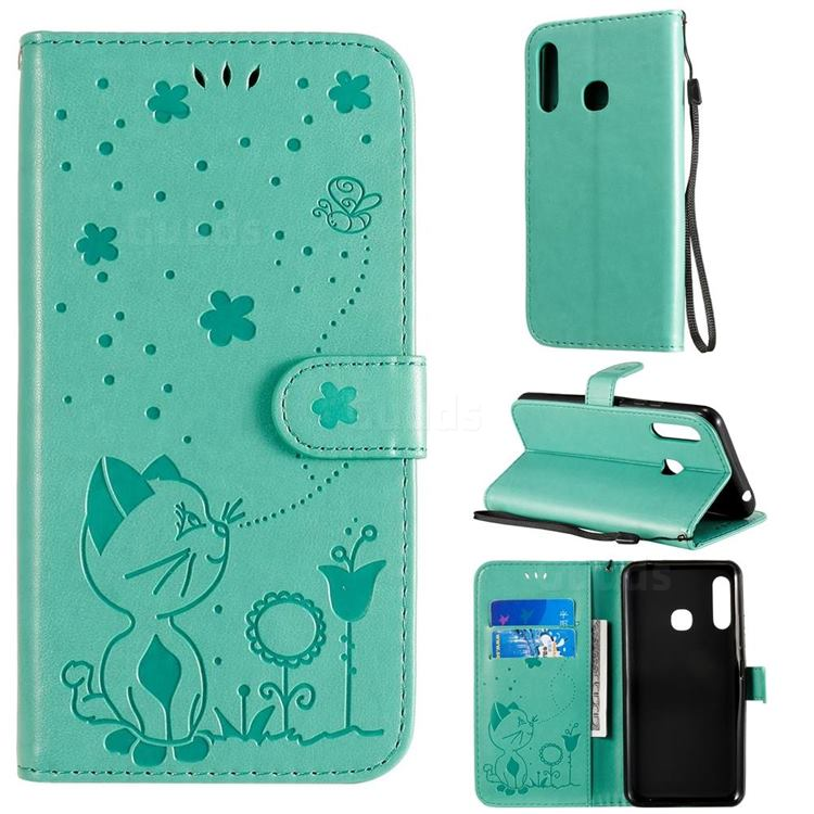 Embossing Bee and Cat Leather Wallet Case for Samsung Galaxy A70e - Green