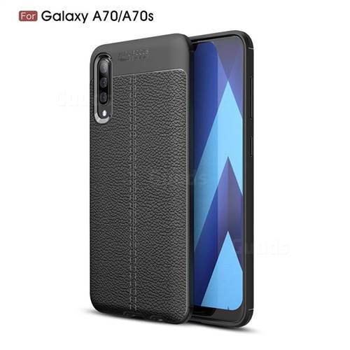 Luxury Auto Focus Litchi Texture Silicone TPU Back Cover for Samsung Galaxy A70s - Black