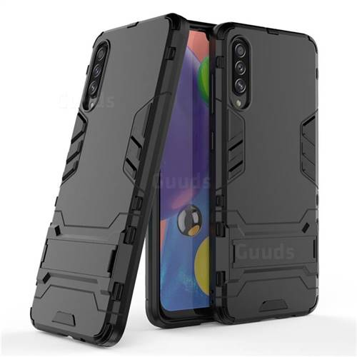 Armor Premium Tactical Grip Kickstand Shockproof Dual Layer Rugged Hard Cover for Samsung Galaxy A70s - Black