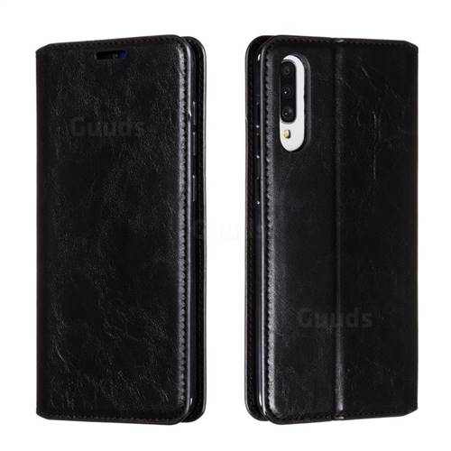 Retro Slim Magnetic Crazy Horse PU Leather Wallet Case for Samsung Galaxy A70s - Black