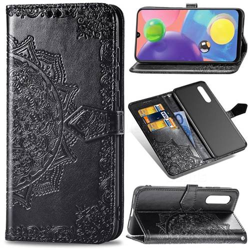 Embossing Imprint Mandala Flower Leather Wallet Case for Samsung Galaxy A70s - Black