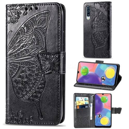 Embossing Mandala Flower Butterfly Leather Wallet Case for Samsung Galaxy A70s - Black