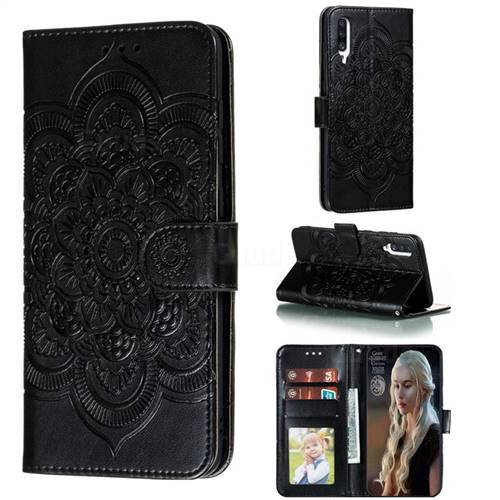 Intricate Embossing Datura Solar Leather Wallet Case for Samsung Galaxy A70s - Black