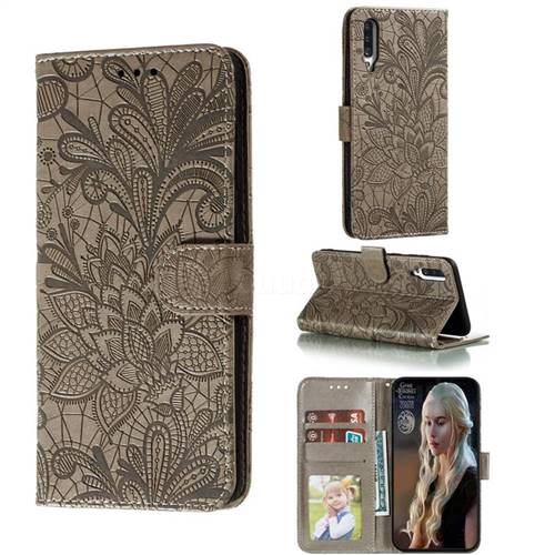Intricate Embossing Lace Jasmine Flower Leather Wallet Case for Samsung Galaxy A70s - Gray