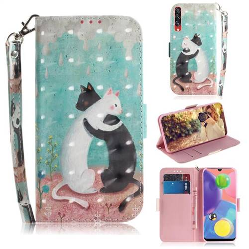Black and White Cat 3D Painted Leather Wallet Phone Case for Samsung Galaxy A70s