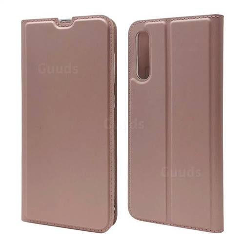 Ultra Slim Card Magnetic Automatic Suction Leather Wallet Case for Samsung Galaxy A70s - Rose Gold