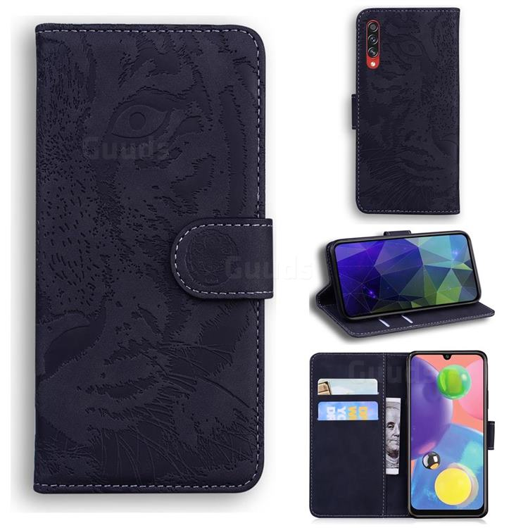 Intricate Embossing Tiger Face Leather Wallet Case for Samsung Galaxy A70s - Black