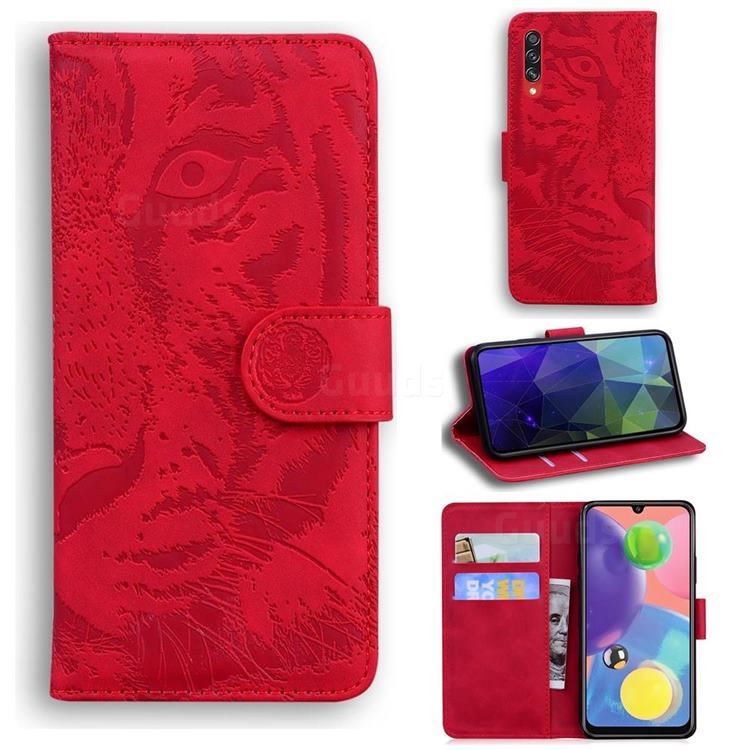 Intricate Embossing Tiger Face Leather Wallet Case for Samsung Galaxy A70s - Red
