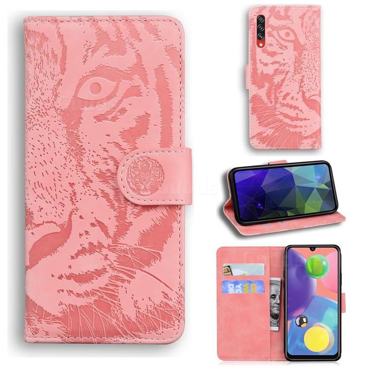 Intricate Embossing Tiger Face Leather Wallet Case for Samsung Galaxy A70s - Pink