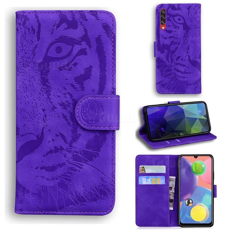 Intricate Embossing Tiger Face Leather Wallet Case for Samsung Galaxy A70s - Purple