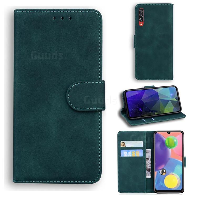Retro Classic Skin Feel Leather Wallet Phone Case for Samsung Galaxy A70s - Green