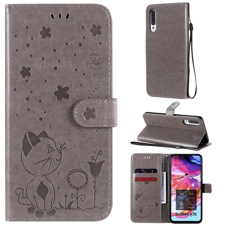Embossing Bee and Cat Leather Wallet Case for Samsung Galaxy A70s - Gray