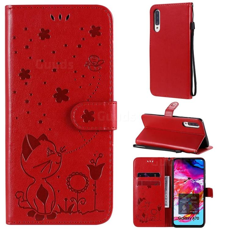 Embossing Bee and Cat Leather Wallet Case for Samsung Galaxy A70s - Red
