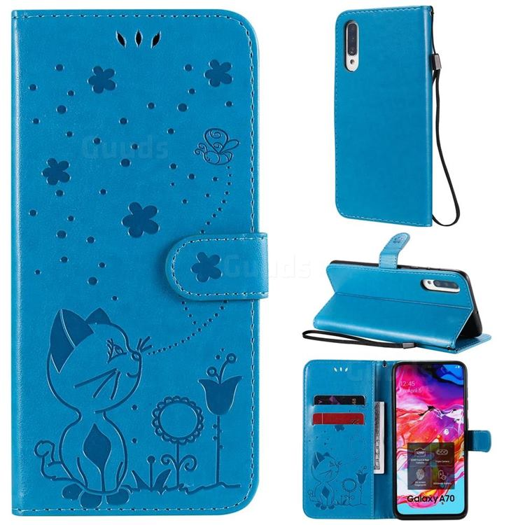 Embossing Bee and Cat Leather Wallet Case for Samsung Galaxy A70s - Blue