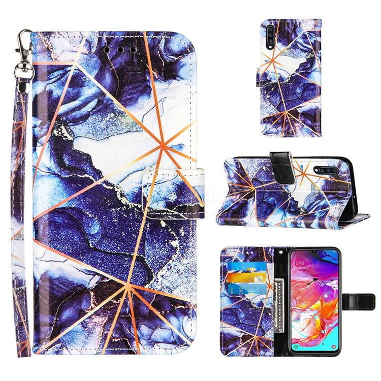 Starry Blue Stitching Color Marble Leather Wallet Case for Samsung Galaxy A70s