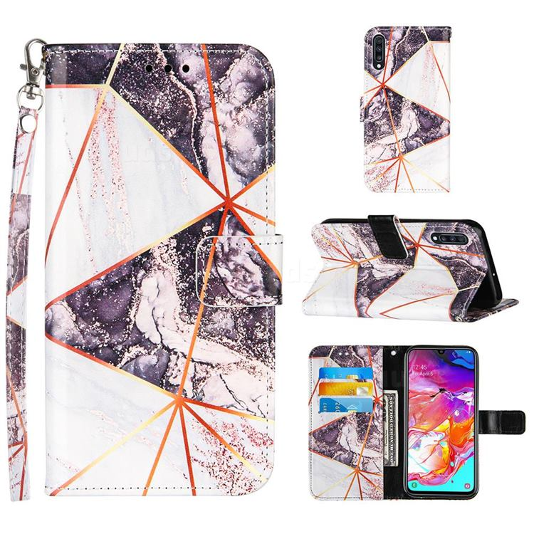 Black and White Stitching Color Marble Leather Wallet Case for Samsung Galaxy A70s