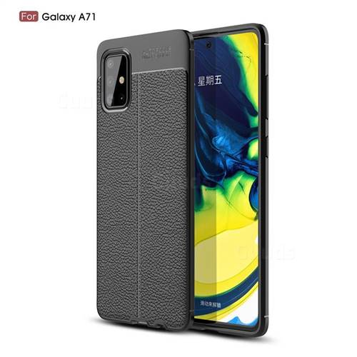 Luxury Auto Focus Litchi Texture Silicone TPU Back Cover for Samsung Galaxy A71 4G - Black