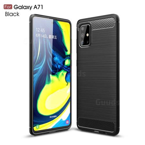 Luxury Carbon Fiber Brushed Wire Drawing Silicone TPU Back Cover for Samsung Galaxy A71 4G - Black