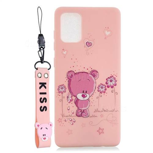 Pink Flower Bear Soft Kiss Candy Hand Strap Silicone Case for Samsung Galaxy A71