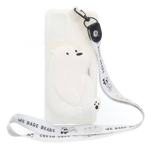 White Polar Bear Neck Lanyard Zipper Wallet Silicone Case for Samsung Galaxy A71