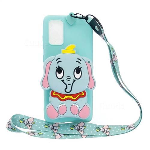 Blue Elephant Neck Lanyard Zipper Wallet Silicone Case for Samsung Galaxy A71