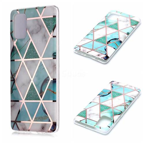 Green White Galvanized Rose Gold Marble Phone Back Cover for Samsung Galaxy A71 4G
