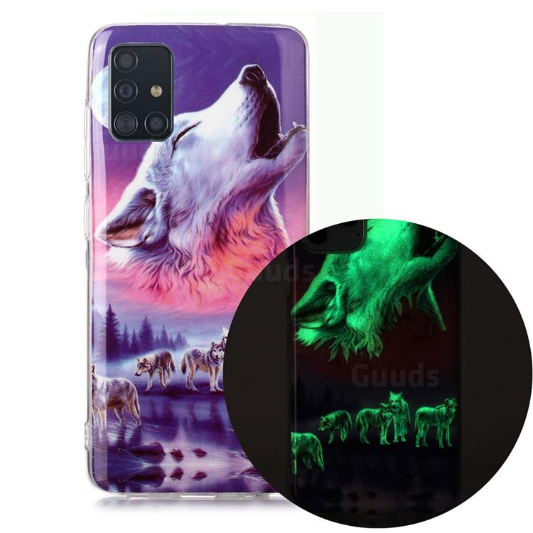 Wolf Howling Noctilucent Soft TPU Back Cover for Samsung Galaxy A71