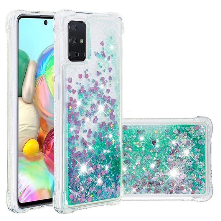 Dynamic Liquid Glitter Sand Quicksand TPU Case for Samsung Galaxy A71 4G - Green Love Heart