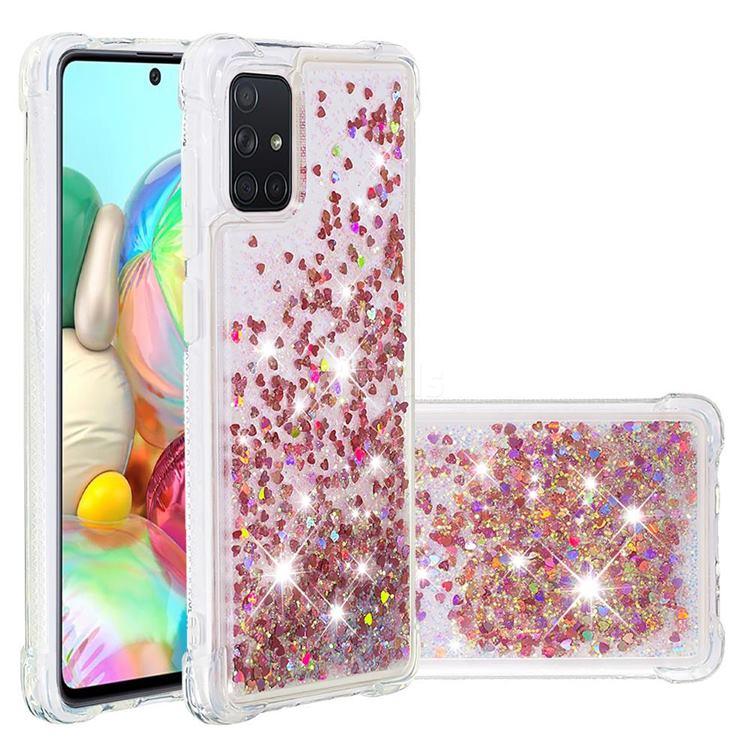 Dynamic Liquid Glitter Sand Quicksand TPU Case for Samsung Galaxy A71 4G - Rose Gold Love Heart