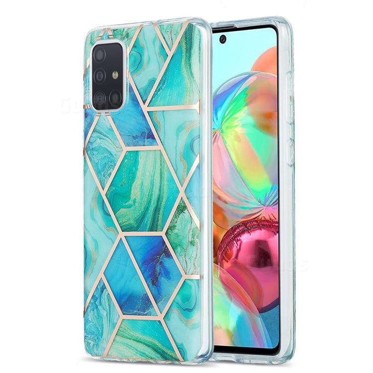 Green Glacier Marble Pattern Galvanized Electroplating Protective Case Cover for Samsung Galaxy A71 4G