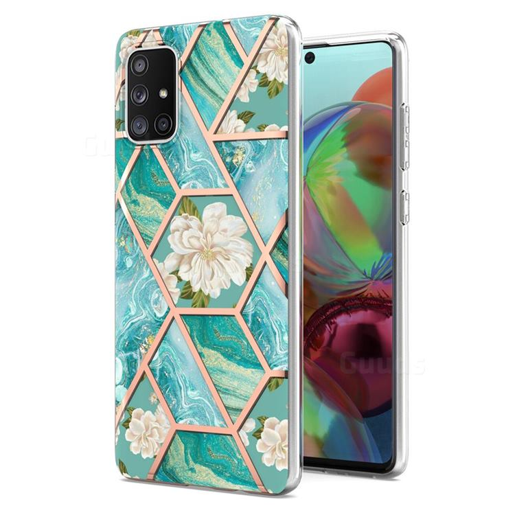 Blue Chrysanthemum Marble Electroplating Protective Case Cover for Samsung Galaxy A71 4G