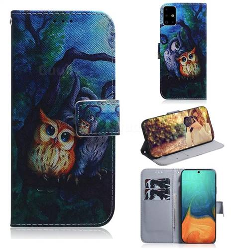 Oil Painting Owl PU Leather Wallet Case for Samsung Galaxy A71 4G
