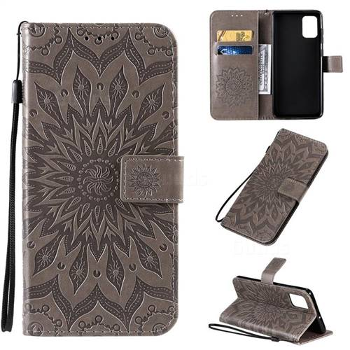 Embossing Sunflower Leather Wallet Case for Samsung Galaxy A71 4G - Gray