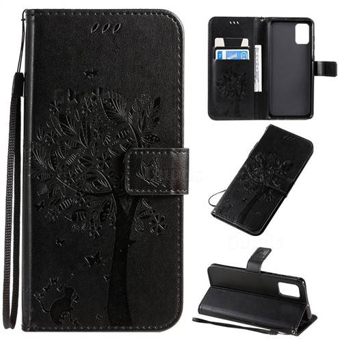 Embossing Butterfly Tree Leather Wallet Case for Samsung Galaxy A71 4G - Black