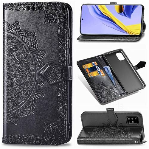 Embossing Imprint Mandala Flower Leather Wallet Case for Samsung Galaxy A71 4G - Black